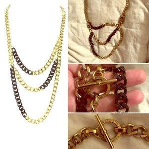 Michael Kors Gold and Black Pave necklace
